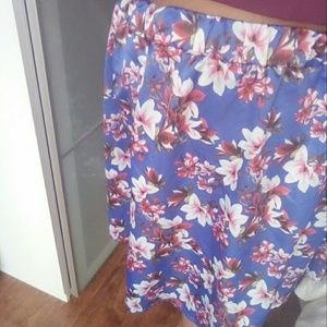 Society Plus floral A-line Midi Skirt